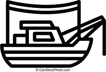 Fishing boat icon, outline style