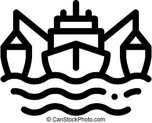 fishing boat icon vector outline illustration - fishing boat...