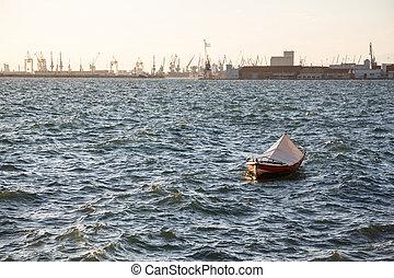 Fishing boat in a sea in Thessaloniki, Greece. Industrial...