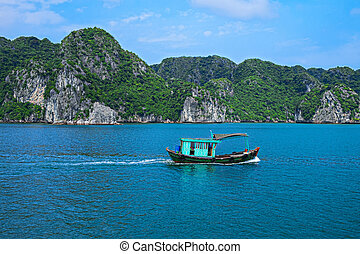 Fishing boat in Halong Bay, Vietnam Southeast Asia