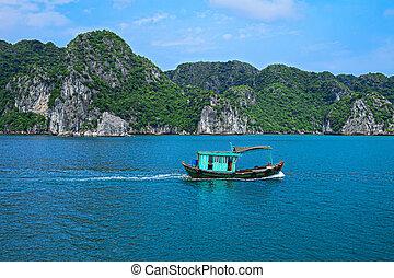 Fishing boat in Halong Bay, Vietnam Southeast Asia