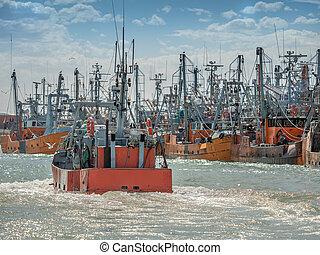 Fishing boat in port