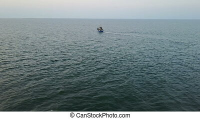Fishing boat in the sea. aerial survey - Fishing boat in the...