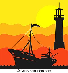 Fishing boat in the sea and lighthouse