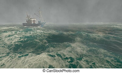 Fishing boat in the stormy sea - Realistic three dimensional...