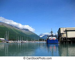 Fishing Boat is docked in the Port of Valdez - Blue fishing ...