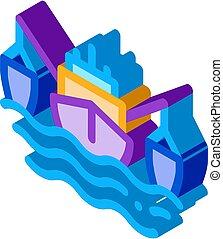 fishing boat isometric icon vector illustration - fishing ...