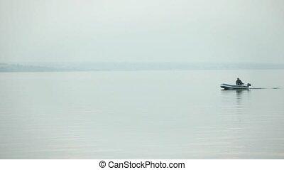 Fishing boat  morning on the lake