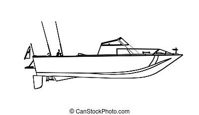 Motor fishing boat icolated on white. Vector illustration.