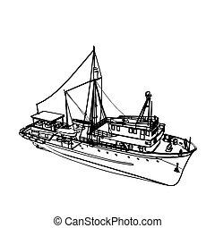 Motor fishing boat isolated on white. Vector illustration.