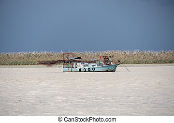 Fishing boat moving through the river on cloudy day