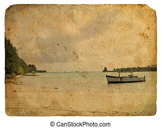 Fishing boat near the shore. Old postcard