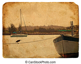Fishing boat near the shore. Old postcard.