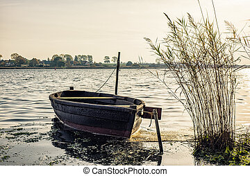 Fishing boat on shore of the Baltic Sea