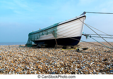 Fishing boat on the beach at Dungeness