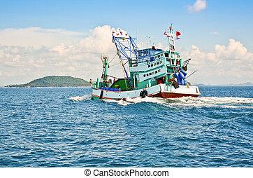 Fishing boat was sailing back to shore, Thailand