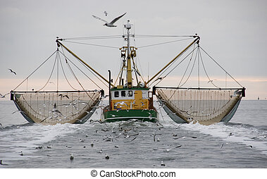 boat - fishing boat on the waddenzee, netherlands