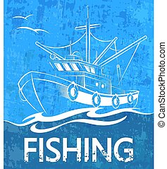Fishing boat on the waves banner