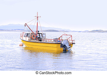Fishing boat on water.