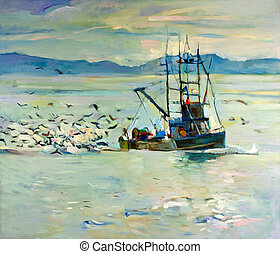 Original oil painting of fishing boat(ship) in ocean surrounded by seagulls on canvas. Modern Impressionism