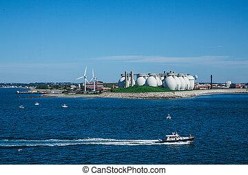 Fishing Boat Past Boston Water Treatment Plant