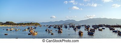 Fishing Boat - Traditional Fishing Boat and Woven Bamboo...