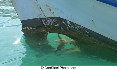 Fishing Boat Propeller - Fishing boat small rudder and...