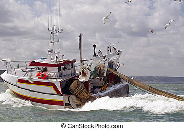 fishing boat returning to shore with catch