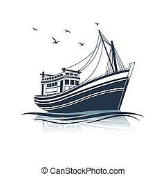 Fishing Boat side view on sea , vector illustration