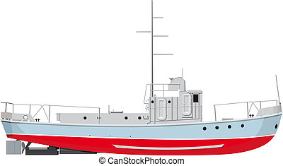 Fishing Boat - small fishing boat side view. detailed ...