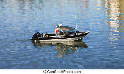 Fishing boat. - Two fishermen enjoying a day out fishing.