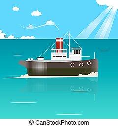 Fishing boat vector illustration