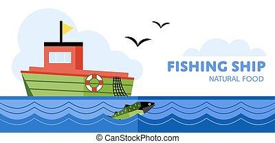Fishing boat, vector illustration