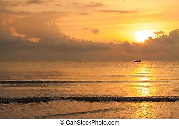 Fishing boat when sun rising