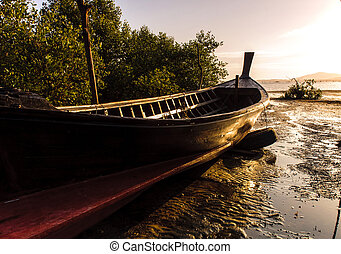 Fishing boat with color of sunset