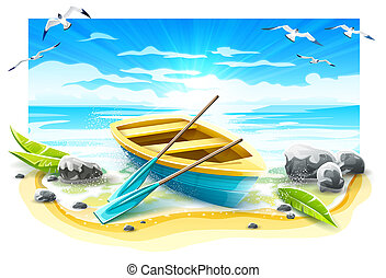 Fishing boat with paddles on paradise island. Vector