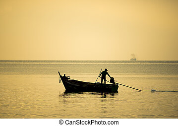 fishing boat with sea sunset