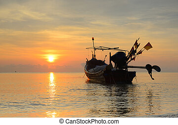 fishing boat with sunrise backdrop. - asia fishing boat with...