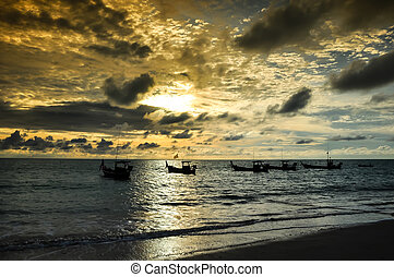 Fishing Boat with sunset and sky