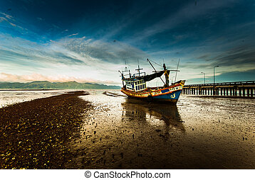 Fishing boat with the morning light