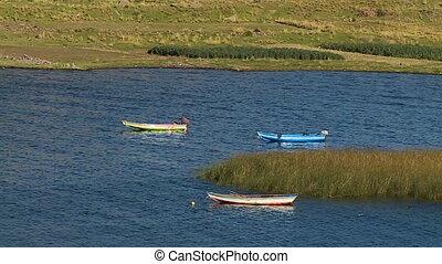 Fishing Boats Anchored At Lake Titicaca, Peru - Medium high...