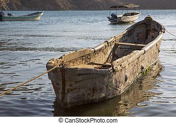 Fishing boats anchored in Taganga bay