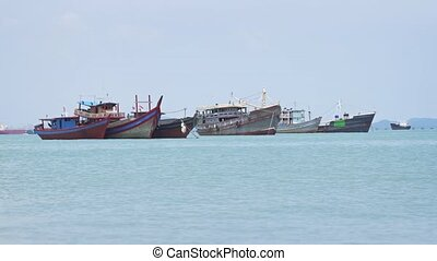 Fishing Boats Anchored off Penang, Malaysia. FullHD 1080p...