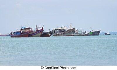 Fishing Boats Anchored off Penang, Malaysia. FullHD 1080p...