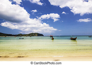 Fishing boats and ocean color