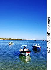 fishing boats at Tavira bay