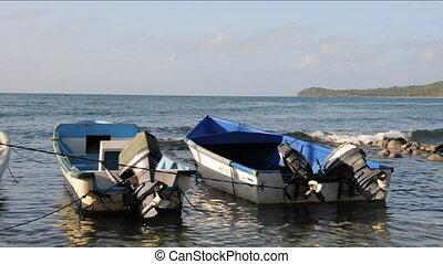 fishing boats Caribbean Nicaragua - fishing boats moored in...