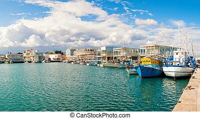 Fishing boats docked at newly constructed Limassol marina. Cyprus
