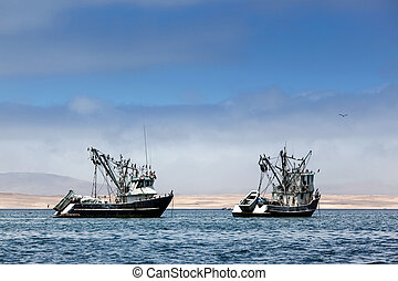 fishing boats in bay - fishing boats in the bay of the ...