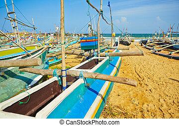 Fishing boats in harbor in Sri Lanka